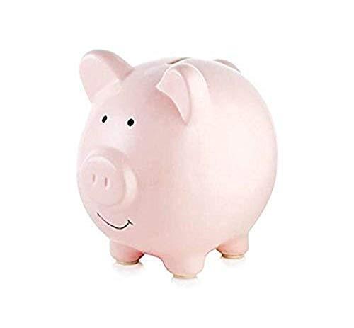 Tiny Ideas Ceramic Pink Piggy Bank, Pink