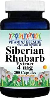Siberian Rhubarb Extract 4mg 200 Capsules Vitamins Because