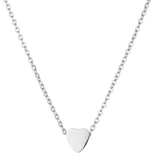 BONNYBIRD ® Kette Herz BonnyHeart Ich Liebe Dich Geschenke für Frauen Halskette Damen Silber (Kettenlänge 38 + 5cm)
