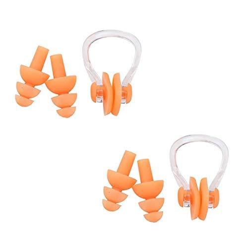 Yowablo Silikon Schwimmnasenclip mit Ohrstöpseln Ohrstöpsel Set für Schwimmen Wassersport (1Einstellen,Orange)