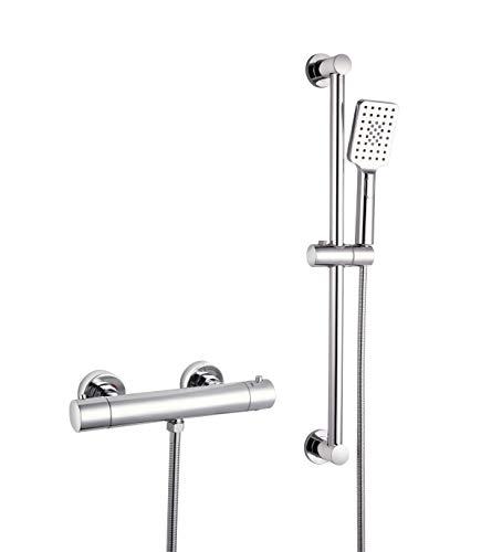 Elbe®Conjunto de ducha incl.alcachofa de ducha multifuncional y barra de ducha de 65 cm y grifo termostatico ducha, cromado, ducha fácil de limpiar