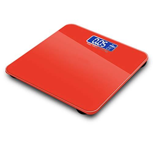 LIAOLEI10 Escala de peso 4 colores Báscula de peso 180 kg Pantalla LCD electrónica Pesas Báscula de baño Máquina de pesaje Básculas corporales personales Balance inteligente, rojo