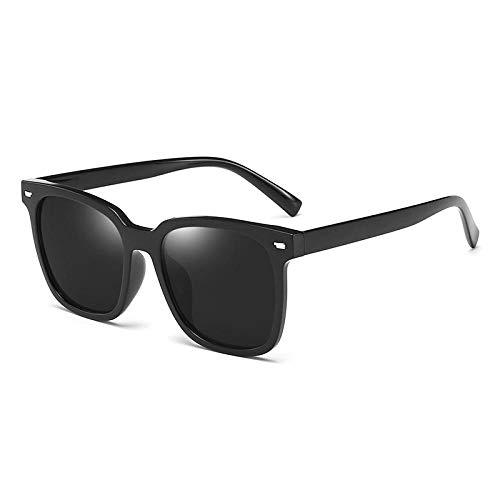 Gafas de sol polarizadas Gafas de sol cuadradas retro para hombre Gafas de sol con protección UV Star-Marco negro negro gris