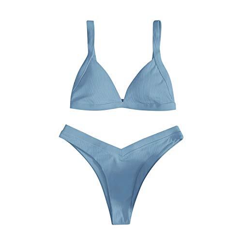 Sommer Bikini 2 Teilig Sexy Brazilian High Waist Oberteil Spaghetti-Träger Bademode Sets Push Up Zweiteiliger Badeanzug Tanga Hochtaillierte Beachwear Swimsuit