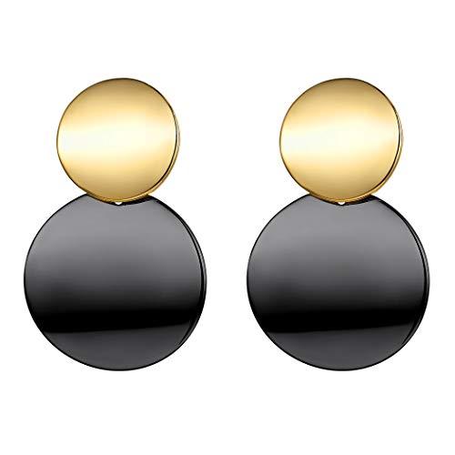 Suplight Hochglanz Ohrringe für Damen Mädchen zweifarbige Doppel Runde Platte Ohrringe Gold&Schwarz Elegante Geometrische Statement Ohrringe Ohrstecker Accessoire für Bürodamen Office Lady