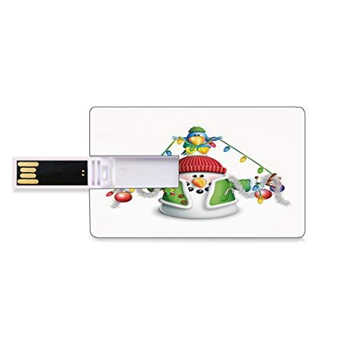 8GB Unidades Flash USB Flash Monigote de Nieve Forma de Tarjeta de crédito bancaria Clave Comercial U Disco de Almacenamiento Memory Stick Personaje caprichoso de Dibujos Animados con Guirnalda de Na