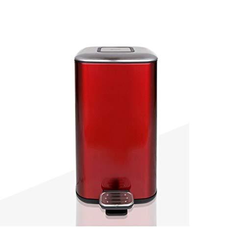 Bote de Basura para el hogar Hogar Sala de Estar Cocina Baño Acero Inoxidable Cuadrado Cubo de Basura 12L (Color : Red)