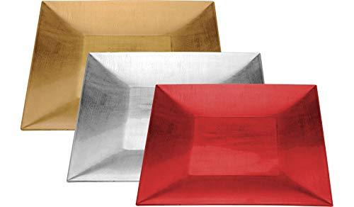 Platzteller Dekoteller Teller Ø 30x30 cm in Rot Silbe Gold Kunststoff Ekig (Gold)