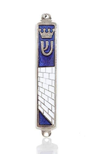 "Silver plated Mezuzah Mezuza Blue Case 7cm-2.7"" Judaica Jewish Torah Crown Kotel Design by body-soul-n-spirit"