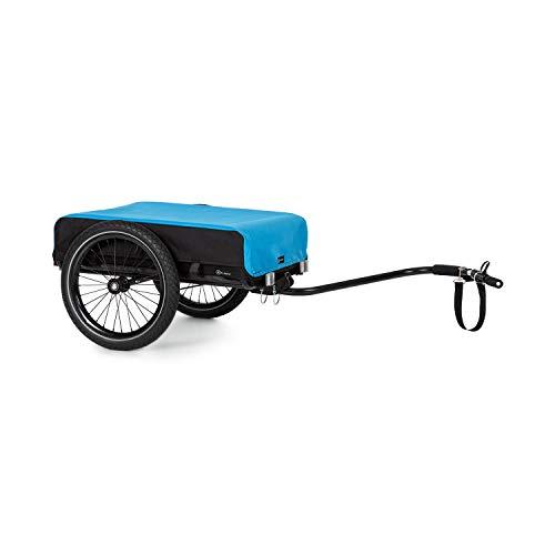 "Klarfit Companion Bike Trailer Cargo Trailer Trolley - Loading Area: 42 x 63 cm / Approx. 50 L / 2 Beverage Crates, 40 kg Load, Powder-Coated Steel Frame, 16"" Wheels, Waterproof Cover, Blue"