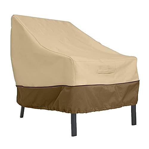 Z-DJJ Funda para Silla De Patio Al Aire Libre, Funda Impermeable para Silla De Patio para Muebles De Exterior, Tela Oxford 210D (Marrón + Beige, Varios Tamaños),89x97x79cm