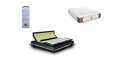 DynastyMattress Queen Adjustable Bed Frame with Custom Head Tilt, Massage, Zero-Gravity, Bluetooth & USB Ports + Memory Foam Mattress Set