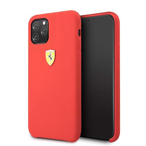 Ferrari - Funda de silicona para iPhone 11 Pro con logo de color rojo | fácil de poner | protección contra caídas |...