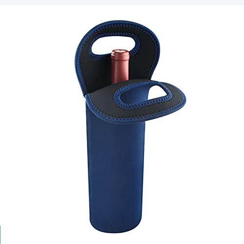 Bolsa de Vino con Aislamiento de Una Sola Botella, Bolsa de Vino Térmica Portátil, Protector de Bolsa para Transporte de Vino de 1 Botella para Viajes, Picnic, árbol de La Suerte,Azul