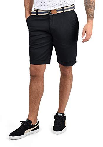 !Solid Monty Herren Chino Shorts Bermuda Kurze Hose Mit Gürtel Aus Stretch-Material Regular-Fit, Größe:M, Farbe:Black (9000)