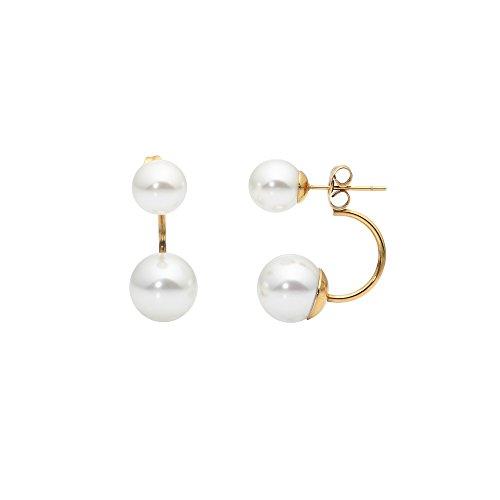 Heideman Ohrringe Damen Stela aus Edelstahl gold farbend matt Ohrstecker für Frauen mit Perle weiss rund 10mm 8mm