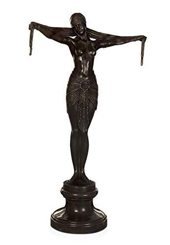 ADM - Ballerina - Skulptur Art Decò aus patinierter Bronze mit Marmorsockel - Bronze - H73 cm