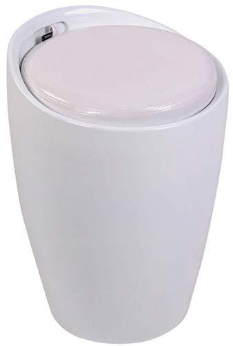 CLP Sgabello Pouf Contenitore Imbottito Annecy in Plastica E Similpelle I Puff Portaoggetti Design con Coperchio, Colore:Bianco