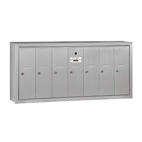 Salsbury Industries 3507ASU Surface Mounted Vertical Mailbox with 7 Doors and USPS Access, Aluminum