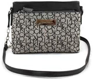 Calvin Klein 3620 5212 040 Logo Jacquard women's zip date Crossbody bag, Black/Grey