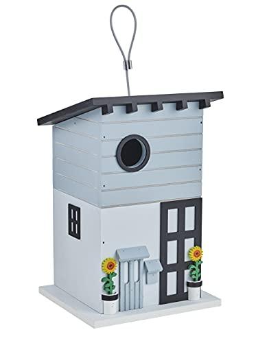 kamelshopping Farbenfohes Vogelhaus aus Echtholz gefertigt, Vogelvilla zum Hängen, Nistkasten für Garten und Balkon (grau-weiß)