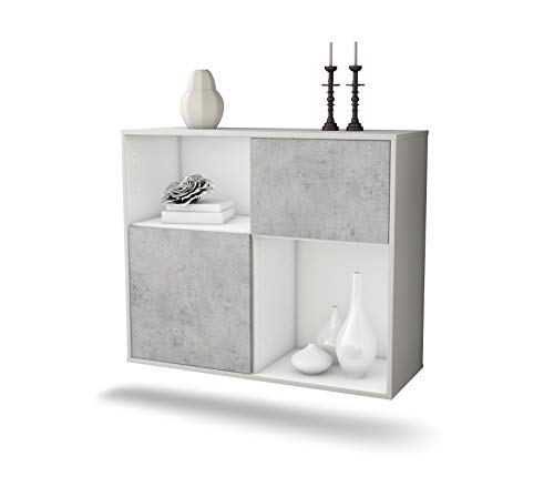 Dekati dressoir Shreveport hangend (92x77x35cm) Corpus wit mat | Voorkant beton look | Push-to-Open