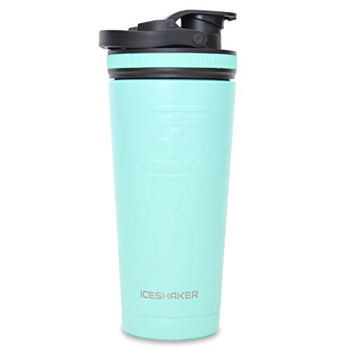 Ice Shaker Stainless Steel Insulated Water Bottle Protein Mixing Cup As seen on Shark Tank Mint 26oz