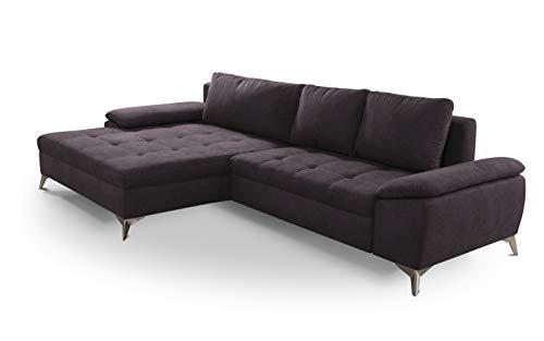 CAVADORE Ecksofa Lina / Moderne Eckcouch mit XL-Longchair und Steppung im Sitz / 290 x 85 x 163 / Flachgewebe: Dunkelgrau