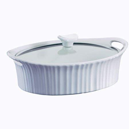 CorningWare French White 2.5-quart Oval Casserole with Glass Lid