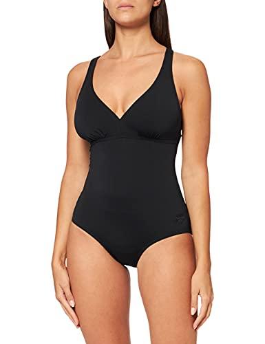 arena Damen Sport Badeanzug May Low (Schnelltrocknend, UV-Schutz UPF 50+, Chlorresistent, V-Ausschnitt), Black (50), 42