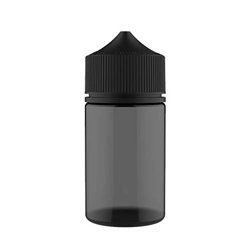 Chubby Gorilla V3 75ml Stubby Pet Unicorn Plastic Plastic para líquidos, aceites y E-Liquid - Botellas cuentagotas vacías - 5X 50ml (Botella Negra Transparente con Tapa Negra)
