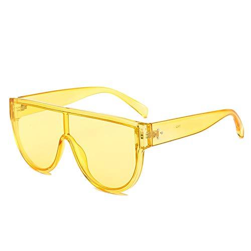 YOULIER Gafas de sol cuadradas de moda hombres y mujeres personalidad transparente plana Top Frame Vintage Trend Gafas de sol UV400 5513-6