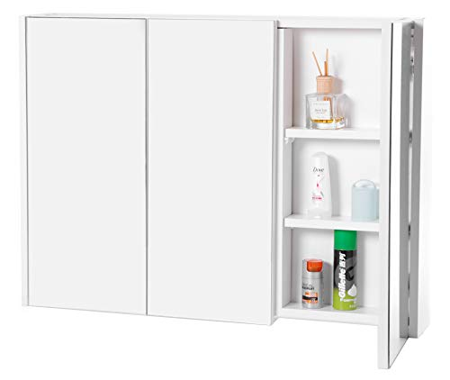 Basicwise QI003456 3 Shelves White Wall Mounted Bathroom/Powder Room Mirrored Door Vanity Cabinet Medicine Chest