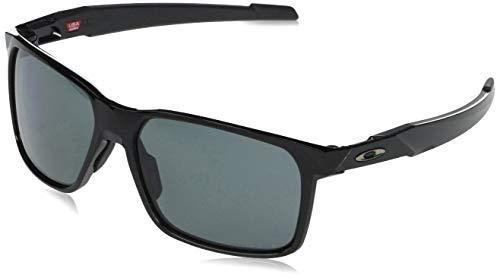 Oakley Men's OO9460 Portal X Rectangular Sunglasses, Polished Black/Prizm Grey Polarized, 59 mm