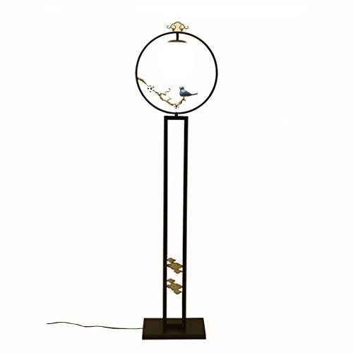 WPLDD Chinese vloerlamp, antieke verticale lamp voor de woonkamer, slaapkamer, studeerkamer, verticale tafellamp, verduisterende staande lamp, verticale lamp van het kleine vogelhuisje