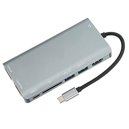 Jopwkuin Concentrador USB C, Accesorios livianos para computadora portátil Adaptador USB C 8 Puertos para Transporte Diario para Viajes Diarios