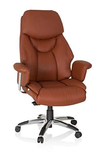 hjh OFFICE 608220 XXL Chefsessel Prado Echt Leder Braun Bequemer Bürosessel mit Dicker Polsterung