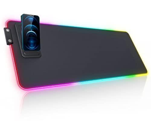RGB Gaming Mauspad seenda LED Mausepad mit Handyhalter RGB Mausepad 800x300x4MM, Mauspad Beleuchtet mit 14 Beleuchtungsmodus, wasserdichte, rutschfeste, Mauspad XXL RGB für Gamer, Büro, PC Zubehör