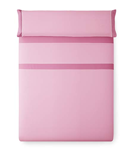 Vipalia Juego de Sabanas Bicolor Lisas 3 Piezas. 100% Poliester. Encimera, Bajera Ajustable y Funda Almohada. Lavables. Evoque. Color Rosa Claro/Rosa Oscuro. Cama 135 cm