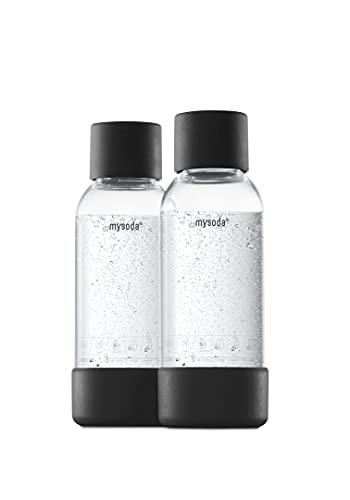 Mysoda 2 bottiglie d'acqua riutilizzabili da 0,5 l, in plastica senza BPA, colore: nero