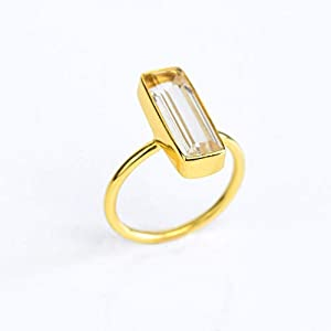 Clear Quartz Gemstone Bar Ring, Geometric April Birthstone Ring