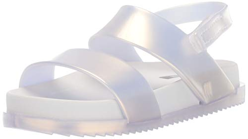 mini melissa Girls' Mini Cosmic Sandal Slipper, White Pearl, 8 Medium US Toddler