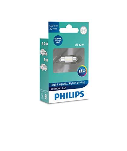 Philips 11860ULWX1 LED Festoon foco de señalización para automóvil (C5W), 6.000K, 30mm, blanco