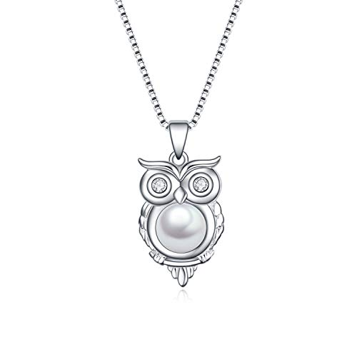 Owl Gifts YFN Sterling Silver Owl necklace Owl Pearl Pendant for Women Jewelry Gifts
