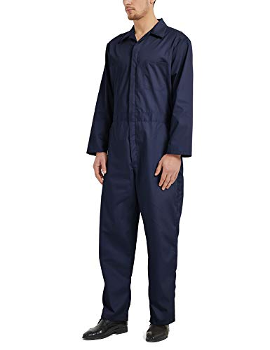 TOPTIE Men's Regular Long Sleeve Snap Zip-Front Coverall-Navy-L