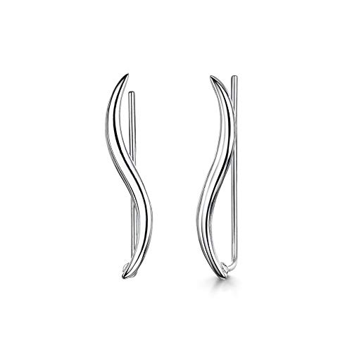 AmbertaWomen's925 Sterling Silver Crawler Earrings: Wavy Vine Line Climbers