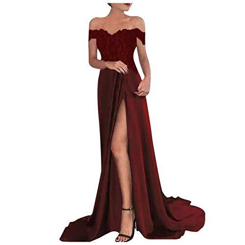 Vestidos de vestir sexy para mujeres, mujeres sexy media manga fuera del hombro de encaje dividido elegante vestido largo de fiesta de boda, cóctel de regreso a casa vestidos formales, Vino, XL