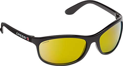 Cressi Rocker Floating Sunglasses Gafas de Sol Deportivas Flotantes con Estuche Rígido, Unisex Adulto, Negro/Lentes Espejadas Naranja, Talla Única