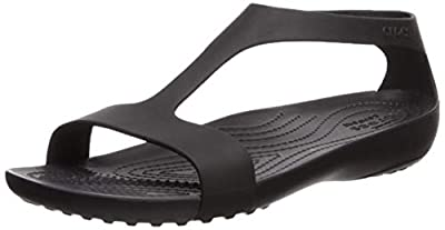 Crocs Women's Serena Open Toe Summer Sandal | Casual, Comfortable Dress Shoe Flat, Black/Black, 11 M US