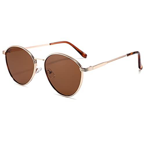 LGQ Nuevas Gafas de Sol de Metal, Gafas de Sol con Montura Redonda de Negocios, Lentes con Revestimiento HD, Unisex, protección Uv400,Gold/Tea